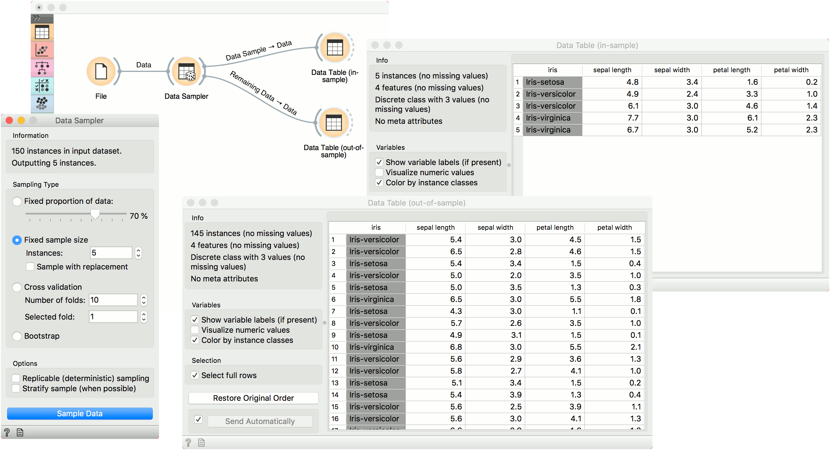 Data Sampler — Orange Visual Programming 3 documentation